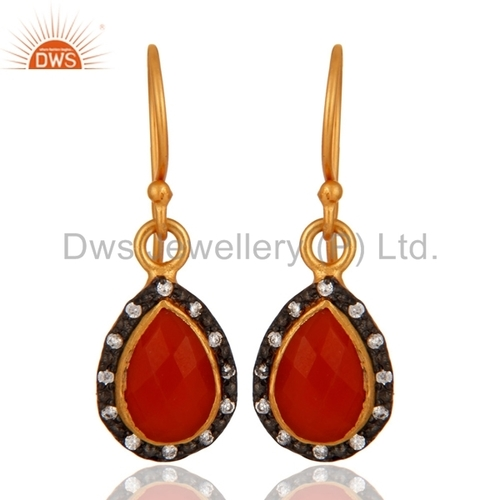 Red Onyx 22K Gold Plated Earring