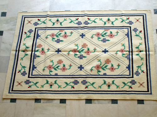 Cotton Woolen Rugs,Royal Wool And Cotton Hand Woven Flat Weave Rug