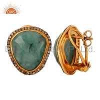 Emerald Pave Diamond Silver Earring