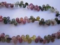 multi tourmaline faceted almond beads one strand 6 inch 5x6mm