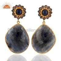 Sterling Silver Sapphire Pave Diamond Earrings
