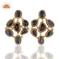 Pave Diamond Blue Sapphire Silver Earring