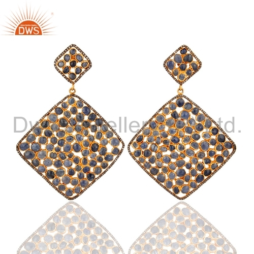 Pave Diamond Blue Sapphire Silver Earrings