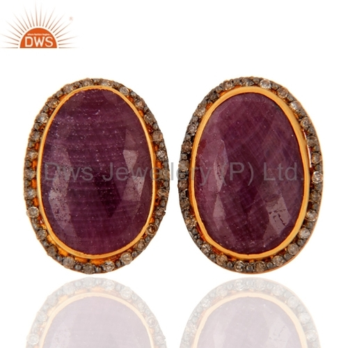 Sterling Silver Pave Diamond Ruby Earrings