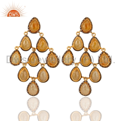 18k Gold Plated Sapphire Earrings