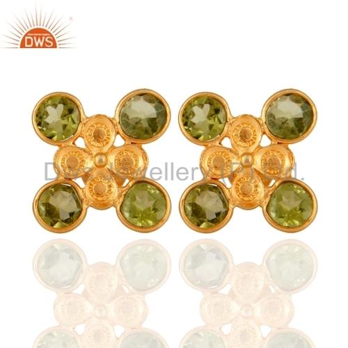 Peridot Gold Plated Stud Earrings