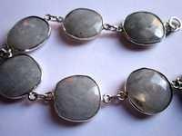 Rainbow Moonstone Friendship Bracelet  7 Inch 13mm-15mm 7 Pcs. Connectors