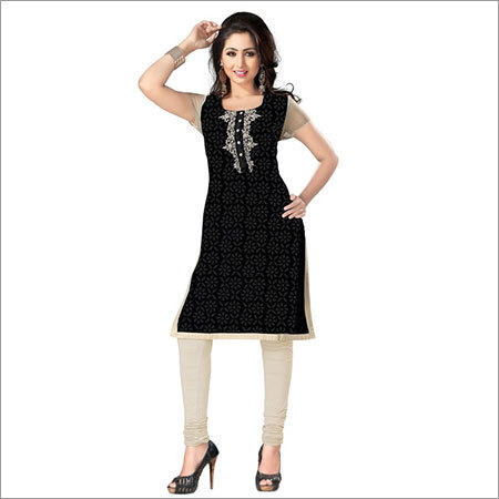 Fancy Black Cotton Kurtis
