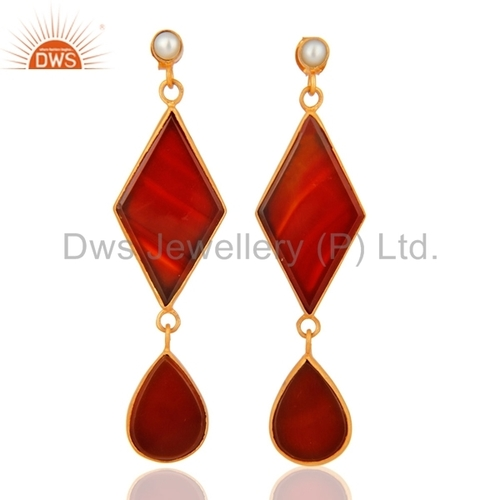 Red Onyx & Pearl Sterling Silver Earrings