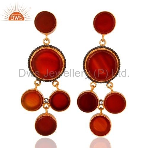 CZ Red Onyx Gemstone Earring Designer Jewelry