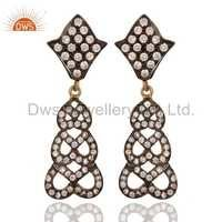Cubic Zirconia 925 Silver Gold Plated Earring