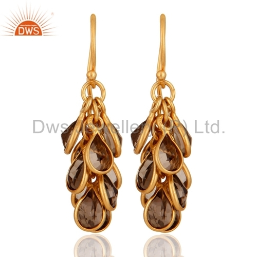 Smoky Quartz Gold Plated Sterling Silver Earrings