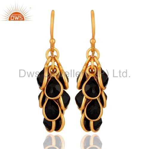 Gold Plated 925 Silver Black Onyx Earrings