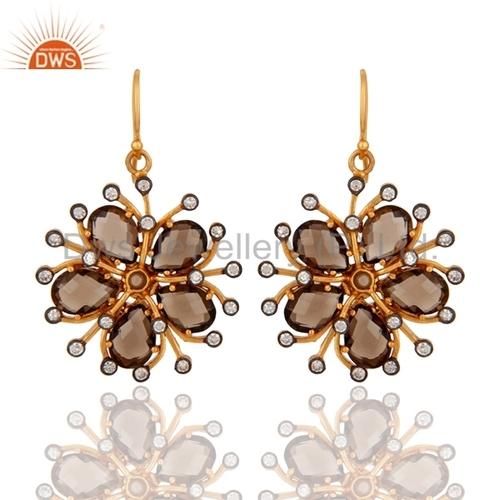 Floral Smoky Quartz Gemstone Earring Jewelry