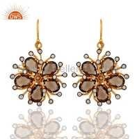 Floral Smoky Quartz Gemstone Earring Jewelry