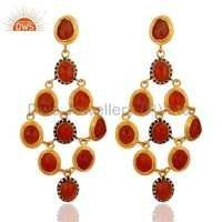 Carnelian Gold Plated 925 Silver CZ Earrings