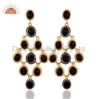 Gold Plated Sterling Silver Black Onyx & CZ Earring