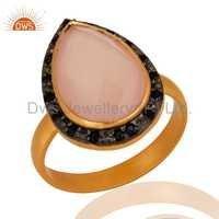 Rose Quartz & Blue Sapphire 925 Silver Ring