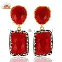 Sterling Silver Red Aventurine Earring