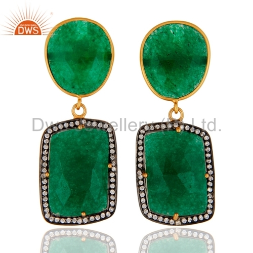 Green Aventurine Gold Plated Earring