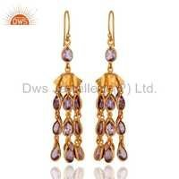 Gold Vermeil 925 Silver Amethyst Earring