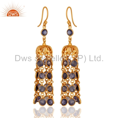 Gold Vermeil 925 Silver Iolite Earring