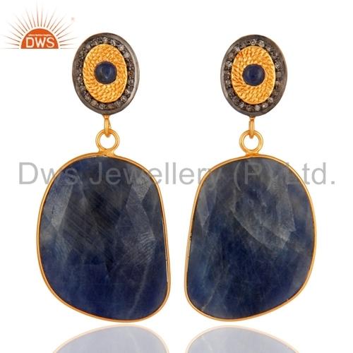 Blue Sapphire Diamond Gold Plated Silver Earrings