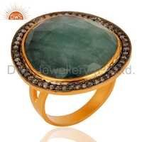 Gold Plated Sterling Silver Emerald Ring