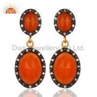 Peach Moonstone Gold Plated 925 Silver Earring