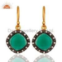 Gold Plated Silver Green Onyx Earring