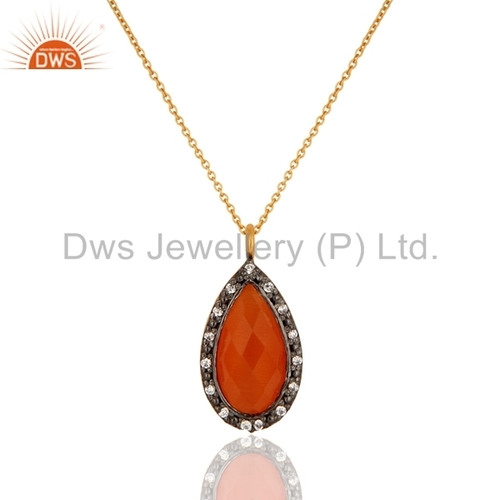 925 Silver Peach Moonstone Gold Vermeil Pendant