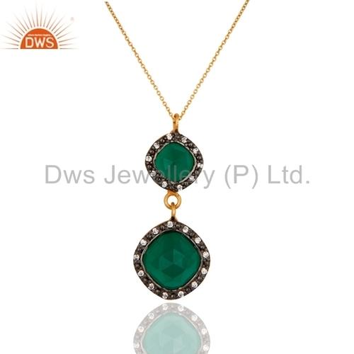 Gold Vermeil 925 Silver Green Onyx Pendant