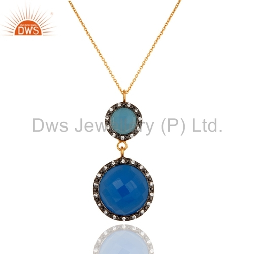 Blue Chalcedony Gold Plated 925 Silver Pendant