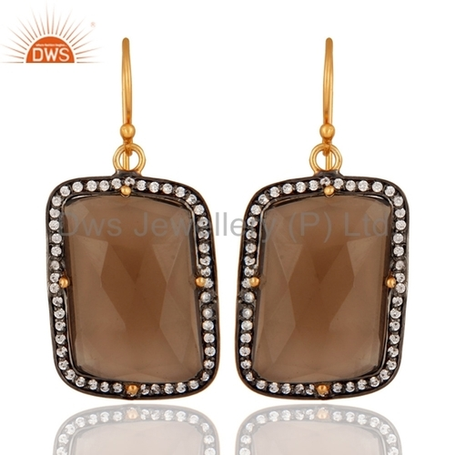 Gold Plated Sterling Silver Smoky Quartz Earring