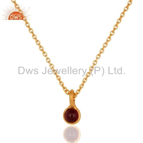 Garnet Gold Plated 925 Silver Pendant