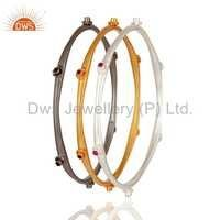Cz 925 Silver Bangle Set Jewelry Supplier
