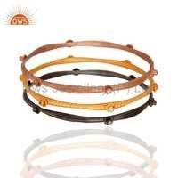 18k Gold Plated Brass Cz Bangle Set