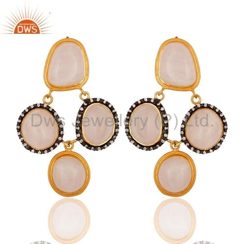 Gold Vermeil 925 Silver Rose Quartz Earring