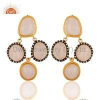 Gold Vermeil 925 Silver Rose Quartz Earring