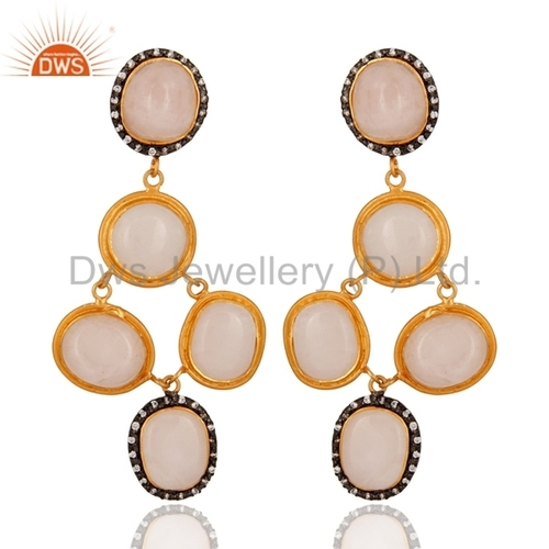 Gold Plated 925 Silver Rose Quartz Earring