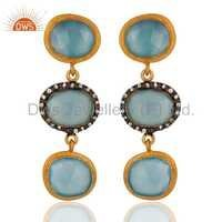 925 Silver Blue Chalcedony Gold Plated Earring