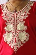Designer Embroidery Cotton Anarkali Tauser Neck