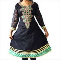 Designer Embroidery Cotton Anarkali Oval Neck