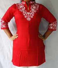 Designer Rayon Kurti Flower Neck with Collar
