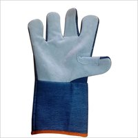 Half Leather half jeans Hand Gloves