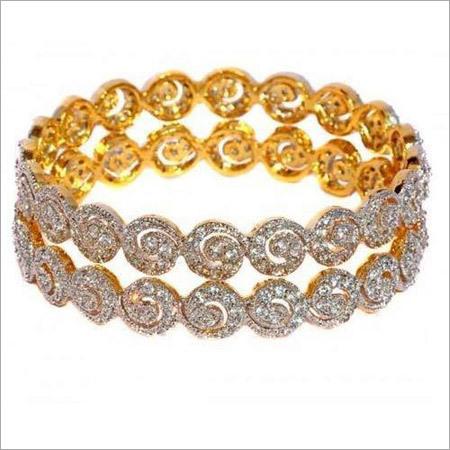 Spiral CZ Diamond Bangles Set