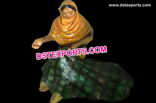 Punjabi Lady Statue With Phulkari Kaddee