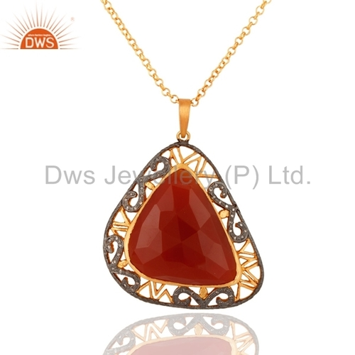 Sterling Silver Pave Diamond & Red Onyx Pendant