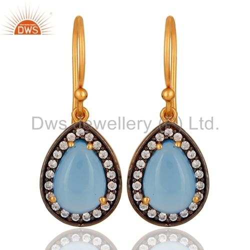 Blue Aqua Chalcedony Sterling Silver Earrings