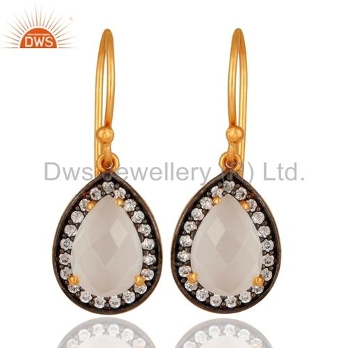 Sterling Silver White Moonstone Earring